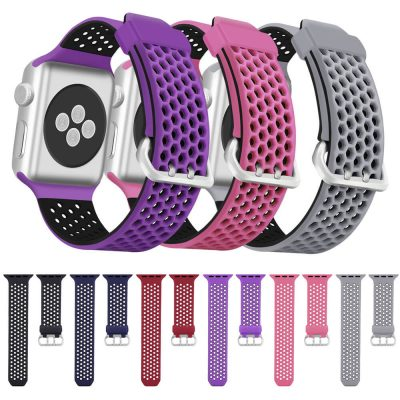 Double Colors Soft Silicone Hexagonal Apple Watch Straps Replacement