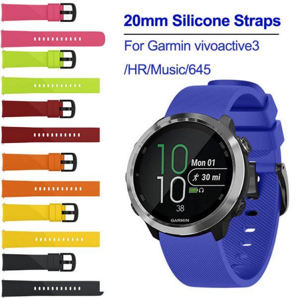 20mm Silicone Straps For Garmin vivoactive 3 HR Music 645