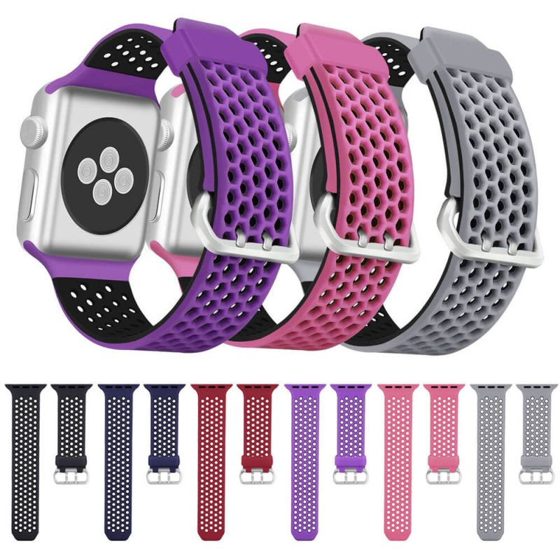 Double Colors soft Silicone Hexagonal Nike Sport band for Apple Watch Strap
