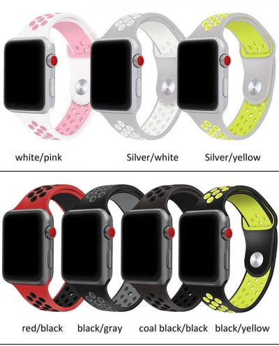 Double color Soft Silicone strap for Apple Watch Nike Sport Band