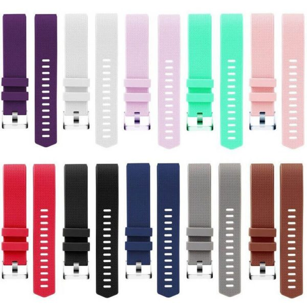 Pure-Color-Soft-Silicone-Replacement-Watch-Band-Watch-Bracelet-for-Fitbit-Charge-2-Women-Men-Black