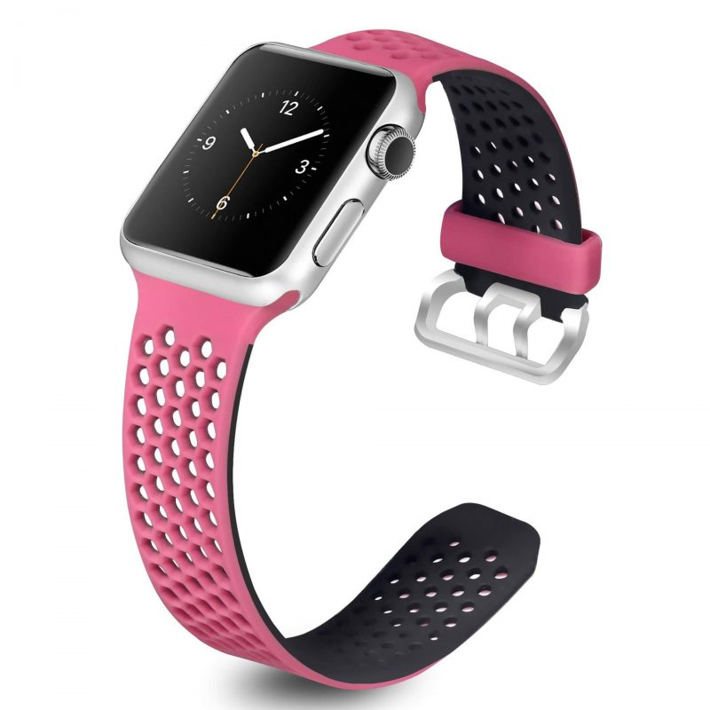black Rose pink Silicone Strap Hexagonal Nike Sport band for Apple Watch