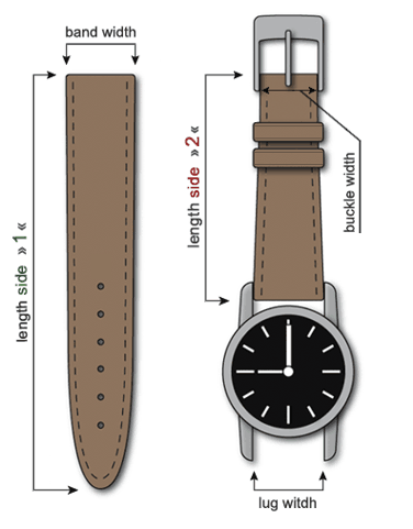watch band straps lenght width