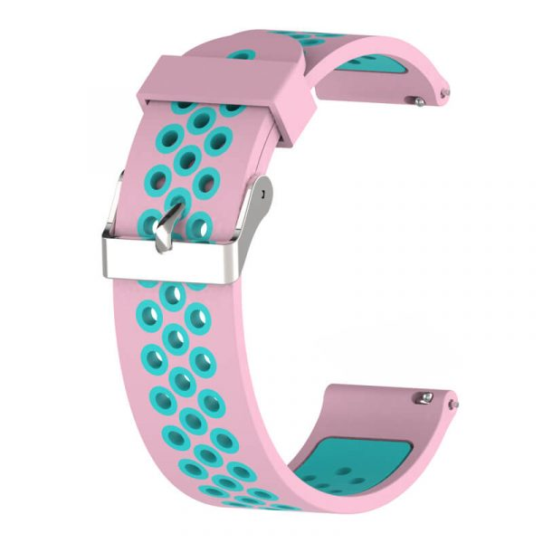 20 22mm Breathable Holes Double Colors Nike Watch Band Pink-Teal