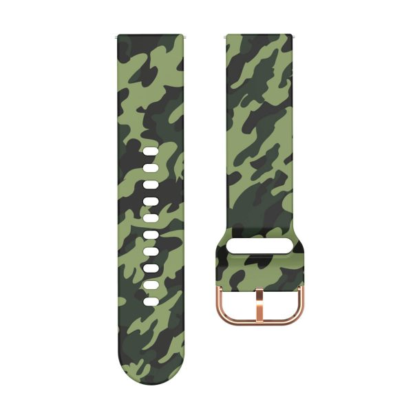 20 22mm Green Camouflage Silicone Watch Band
