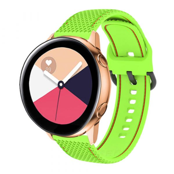 20 22mm two colors Stitched silicone watch band strap green