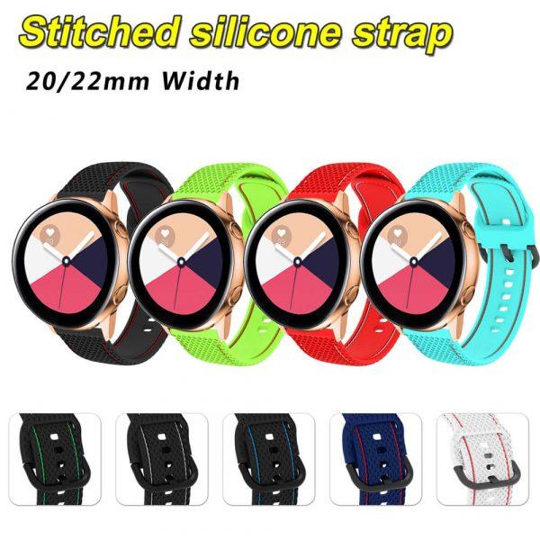 20 22mm Stitched silicone watch strap