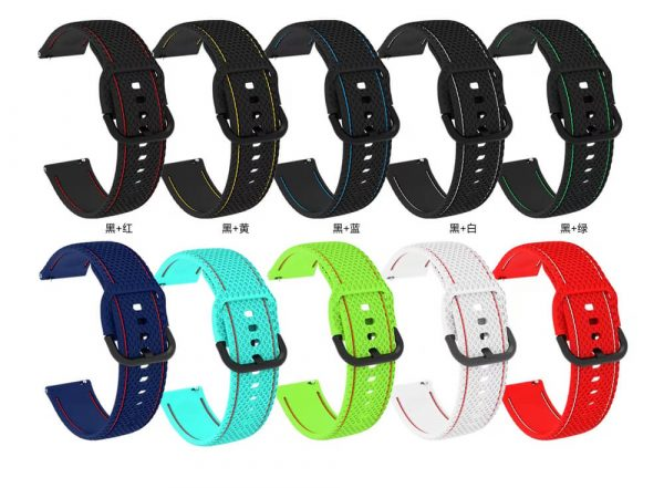 20 22mm Two Colors Stitched silicone watch strap All Colors