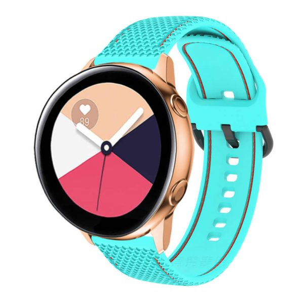 20 22mm Stitched silicone watch strap Teal Red