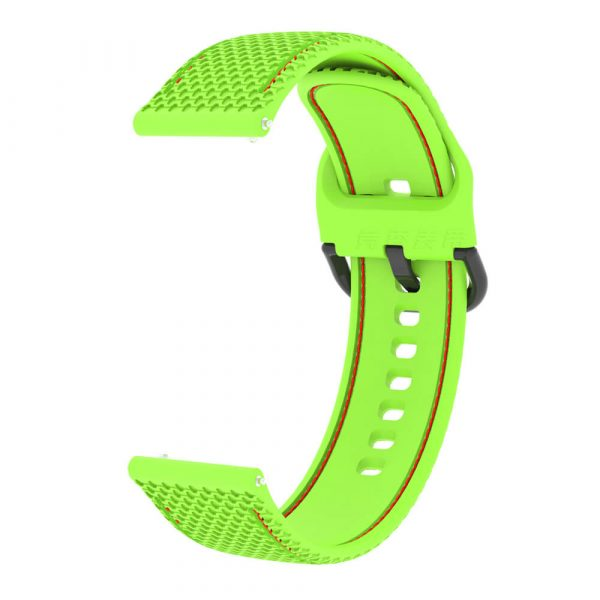 20 22mm Stitched silicone watch strap green