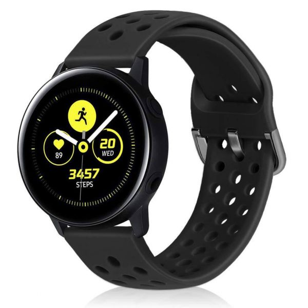 20 22mm breathable Black Watch Strap for Samsung Galaxy Watch 42mm 46mm Active 2 3 Gear S3 S4