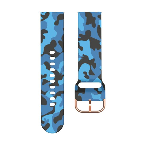 20 22mmm Blue Camouflage Silicone Watch Band
