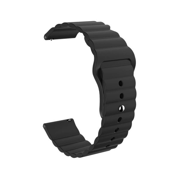 22mm Apple Buckle Silicone Watch Band Black
