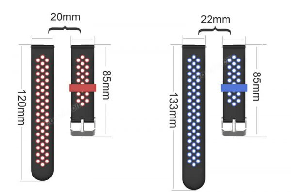 BS-GE-023 20mm-22mm-Double-colors-Nike-Watch-band-size