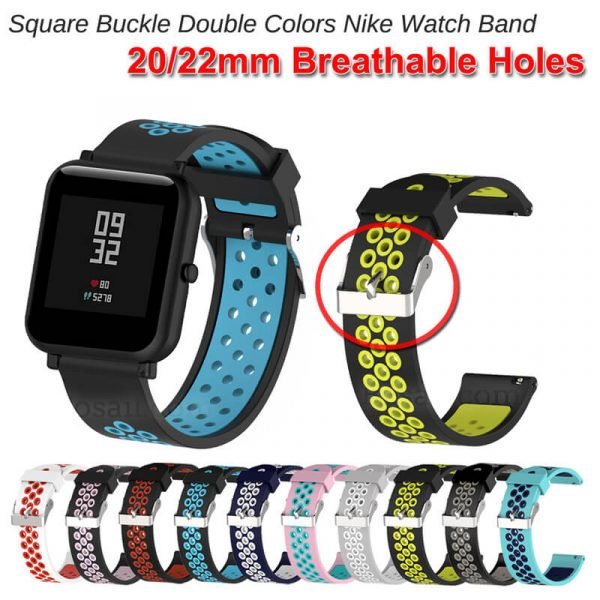 BS-GE-023 Square Buckle Double Colors Nike Watch Band breathable holes strap