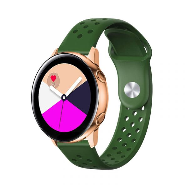 Breathable-Quick-Release-Silicone-Watch-Band-Strap-Green