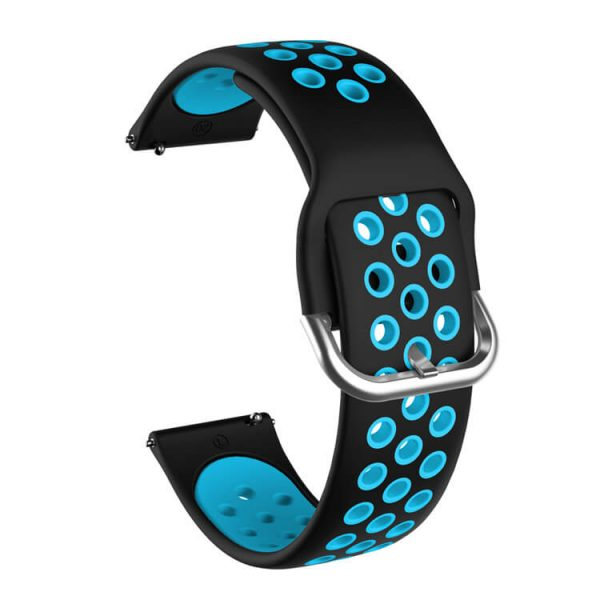 Breathable holes Silicone watch strap Black Teal 2