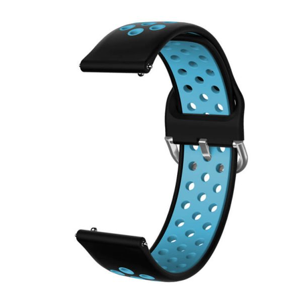 Breathable holes Silicone watch band Black Teal