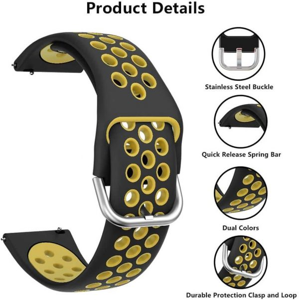 Feature of Two Colors Breathable holes Silicone Watch Band Strap for Samsung Galaxy Active 3 Buckle