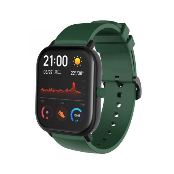 Green Amazfit silicone watch band