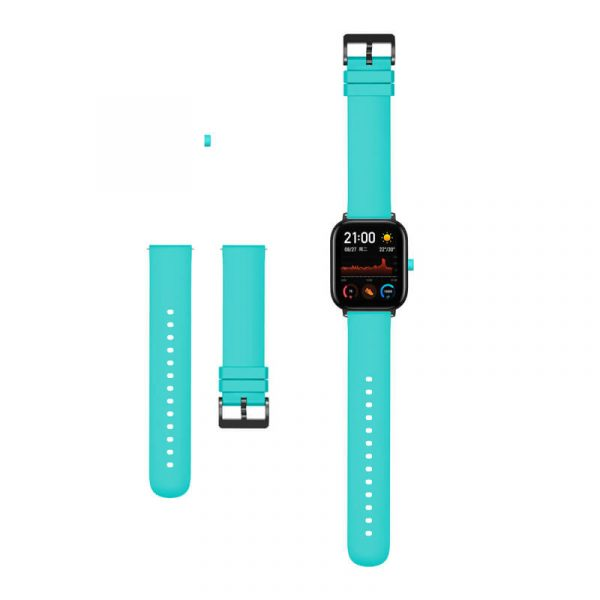 Teal Amazfit silicone watch strap
