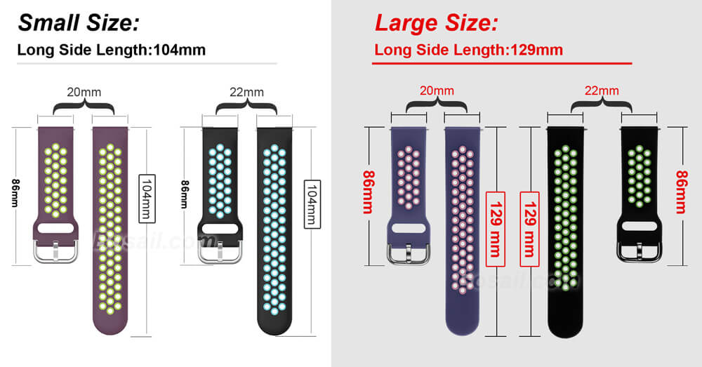 Two Colors Breathable holes Silicone Watch Band Strap for Samsung Galaxy Active 2 Buckle
