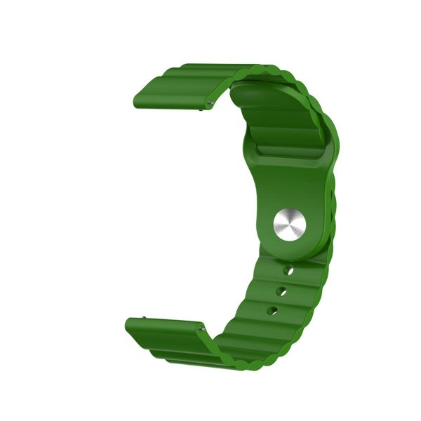 Wavy bump silicone watch band strap green 4