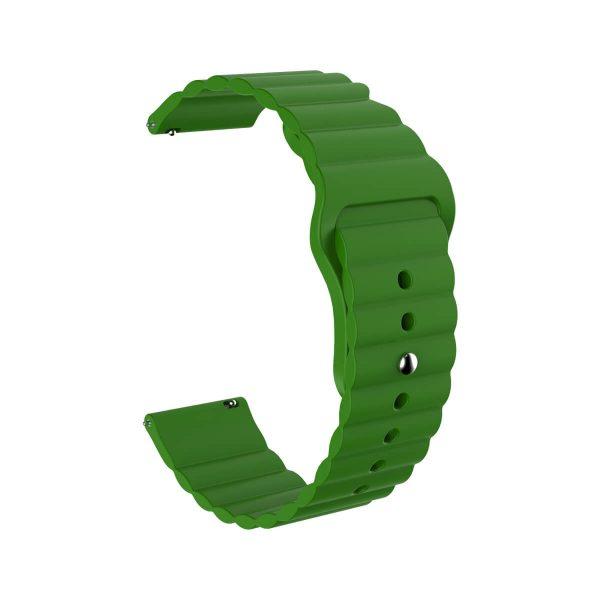 Wavy bump silicone watch band strap green