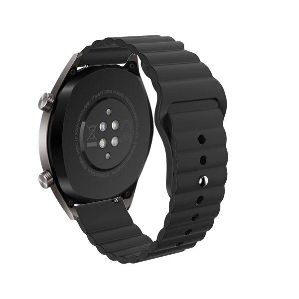 Wavy bump silicone watch strap Black 2