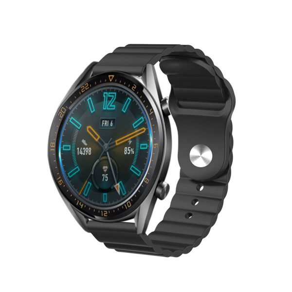 Wavy bump silicone watch strap Black 3