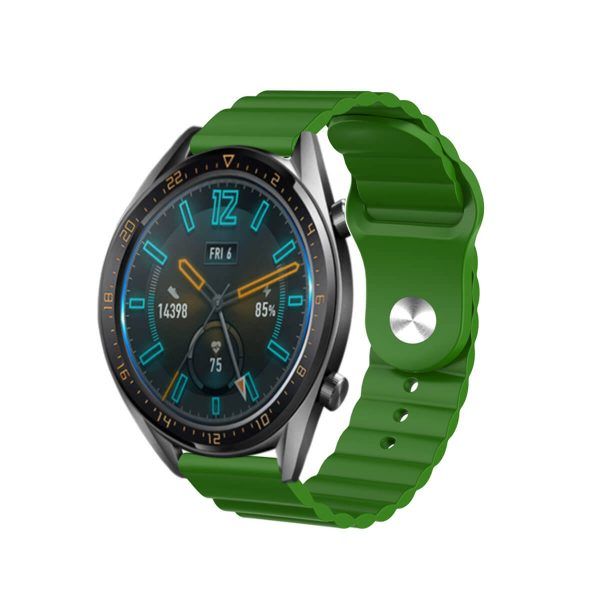 Wavy bump silicone watch strap Green