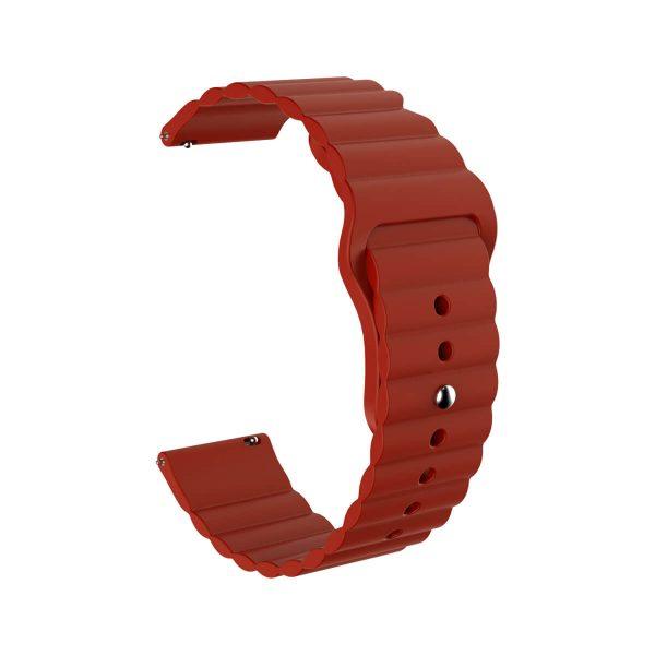 Wavy bump silicone wine red watch strap